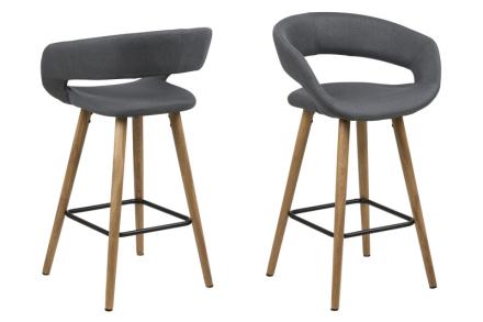 Gramma barstol høyde 87 cm i mørk grå med stell i eik.
