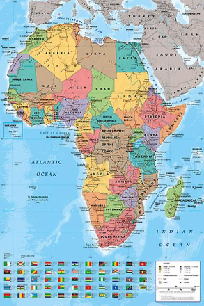 Afrika kort Maxi plakat 61x91.5cm