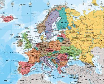 Europa kort 2014 Mini plakat 40x50cm