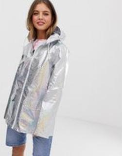 Brave Soul – Glittrig silverfärgad regnkappa med holografisk effekt