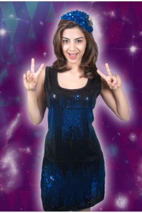 Kvinnor kostymer kvinnor paljett klänning Disco Blue Star