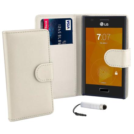 Boka plånbok fallet täcker för LG Optimus L9 (P760) + penna - vit