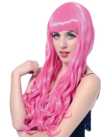 Naisten peruukki pitkät vaaleanpunaiset hiukset