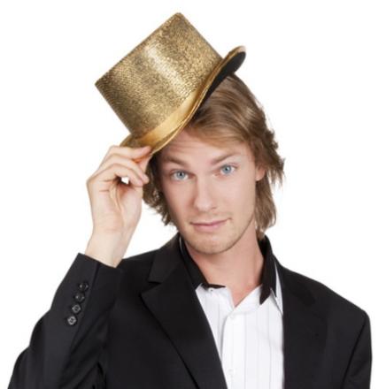 Hög hatt guldig vuxen One-size