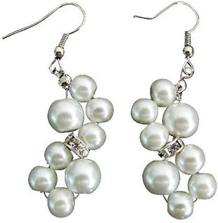 Blomst perle øredobber Rhinestone øredobber hvit perle øredobber