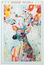Puslespil med 1000 brikker - Motiv af farverig kronhjort