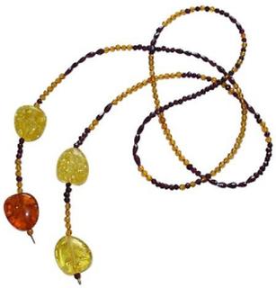MyAngels Gult halskjede rav halskjede FÖHR og Garnet halskjede gull