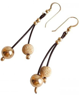 GS Läder örhänge läder örhängen guldpläterade örhängen CORA