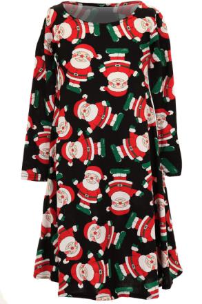 Piger langærmet Christmas rensdyr Santa snemand børns Top Swing kjole