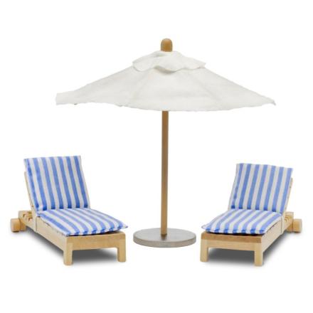Lundby - Solsängar + parasoll