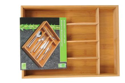 Bambus træ bestik boks med 5 rum for nem opbevaring
