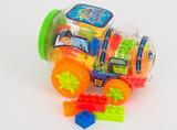 Plast Bulding block i tåg behållare med hjul gåva