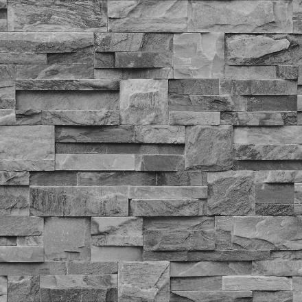 Muriva grå trækul skifer 3D effekt sten mursten væg tekstureret vin...