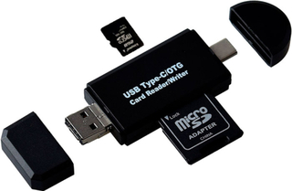 USB Kortleser med SD/Micro SD inngang Type C/OTG Micro SD/Micro USB
