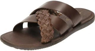 RED TAPE Byråkrati Mens mörk brunt läder Mule Cross Strap sandaler ...