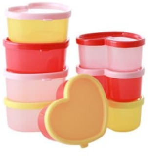Rice, Plastic Food Keepers in Heart Shape 8 pcs S