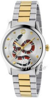 Gucci YA1264075 G-Timeless Sølvfarvet/Gul guldtonet stål Ø38 mm