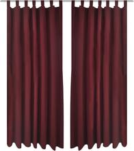 vidaXL 2-pack gardiner med öglor i vinröd microsatin 140 x 225 cm