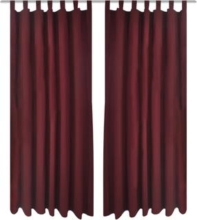 vidaXL Gardiner i mikro-satin med løkker 2 stk. 140 x 225 cm bordeaux-rød