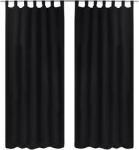 vidaXL 2-pack gardiner med öglor i svart microsatin 140 x 175 cm