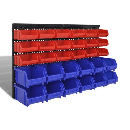 vidaXL vægmonteret opbevaringskassesæt til værkstedet 30 stk. blå og rød