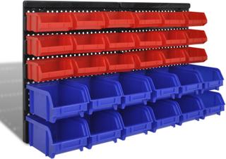vidaXL vægmonteret opbevaringssæt til værkstedet 30 stk. blå og rød