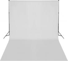 vidaXL Teleskopiskt bakgrundsstativ + vit bakgrund 3 x 5 m