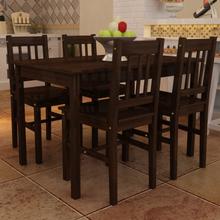 vidaXL Matbord i trä med 4 bruna stolar