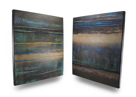 Moderne landskap jord Tone lerret veggtepper sett med 2