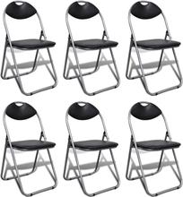 vidaXL foldbare spisebordsstole 6 stk. kunstlæder og stål sort