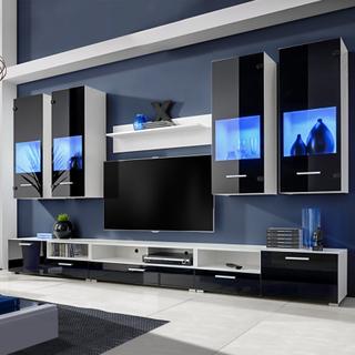 vidaXL Vardagsrumsset svart med blå LED-belysning 8 delar