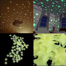 100 st / förp självlysande stjärnor vägg klistermärke 3 färger
