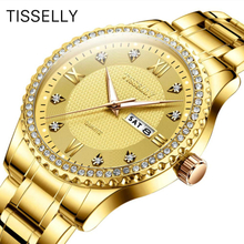 Luxury Gold Diamond Men Watches Tisselly Top Brand Luminous Dial Steel Bracelet Watchband Date Male Clock Business Wristwatch