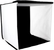 Ljustält kvadrat för produktfoton (Bakgrunder: svart, vit, röd, blå) (40x40x40cm)