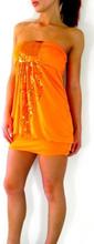 Luftig orange tubklänning med paljetter