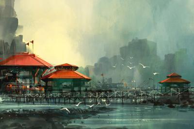 Poster illustration pir i hamnen, 50x70 cm