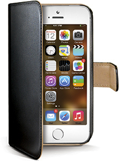 Apple iPhone 5/5S/SE flipcover Celly Wally Case - Sort