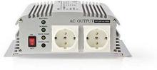 Nedis Strömväxelriktare, modifierad sinusvåg   12 V DC - 230 V AC   1000 W   2x Schuko-uttag   laddningsfunktion