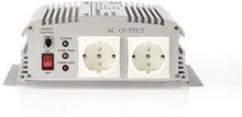 Nedis Strömväxelriktare, modifierad sinusvåg   12 V DC - 230 V AC   1000 W   2x Schuko-uttag