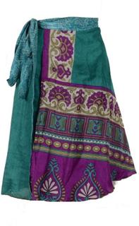 Sari Nederdel Kort Turquoise Grey