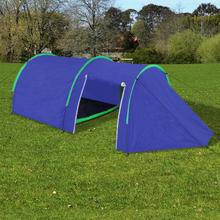 vidaXL Campingtält 4-personer marinblå, gröna linjer