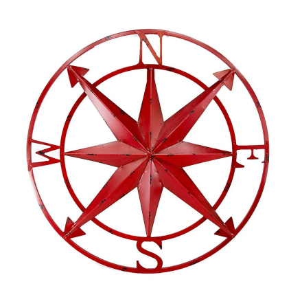 20 tommers kompassrose Diameter Distressed rød slutten metall vegge...