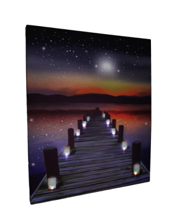 Stearinlys brygge ved solnedgang LED tent Canvas Print
