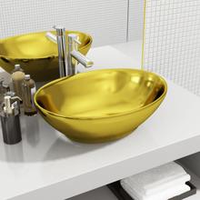 vidaXL Handfat 40x33x13,5 cm keramik guld