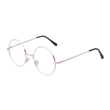Retro runda glasögon guld m. klart glas utan styrka