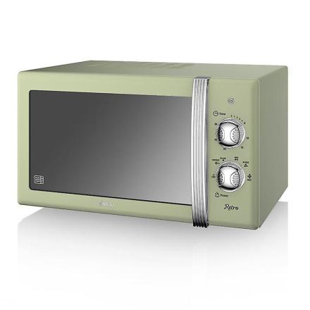 Svane Retro manuel mikrobølgeovn 20 liter 800 Watt - grøn (Best.nr....