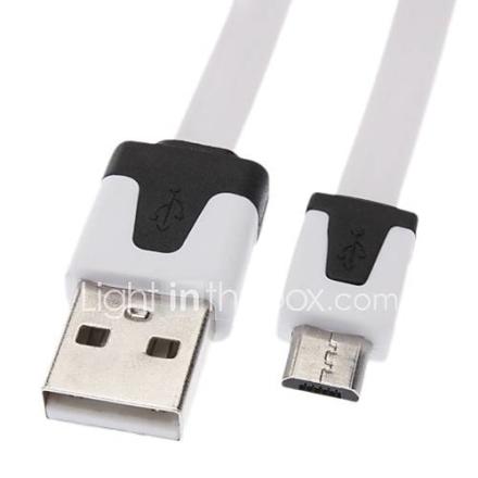 Micro USB-USB uros-uros-kaapeli Samsung / Huawei / ZTE / Nokia / HTC / Sony Ericson Kerrostalo White (3M)