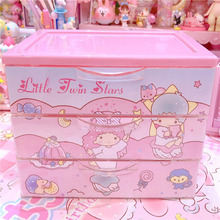 1pc cute pink Little twin stars melody boxes girls Jewelry Box home decoration for dolls collection accessoriess