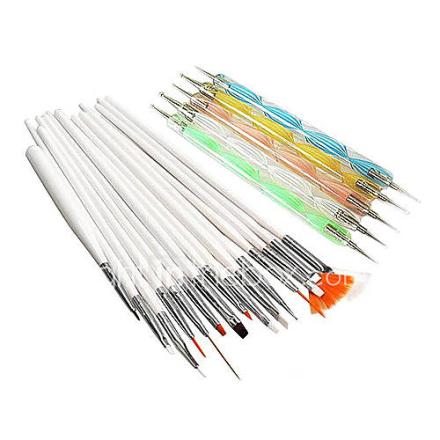 20PCS Nail Art Suits (15PCS Nail Art Maalaus Brush Rakennussarjat ja 5PCS 2-Way Nail Art Dotting Apuvälineiden)