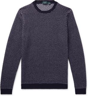 Striped Virgin Wool Sweater - Blue
